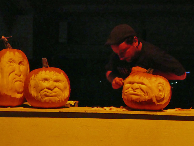 Live pumpkin carvings at THE GLOW NJ.
