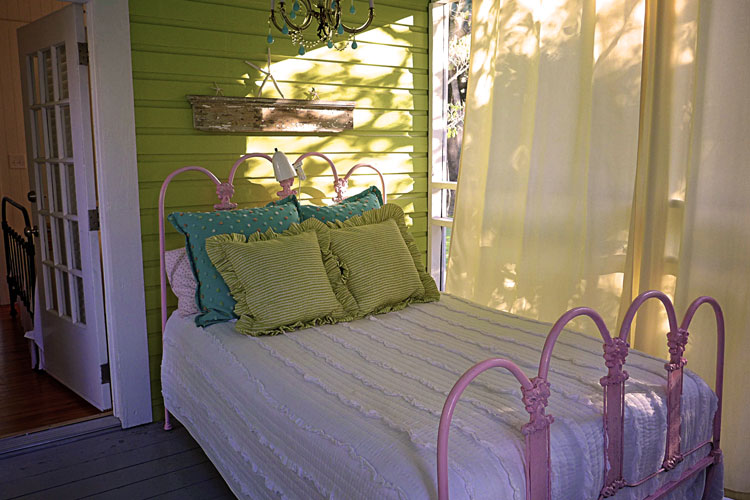 Sleeping porch in a family friendly summer beach house rental on Tybee Island.
