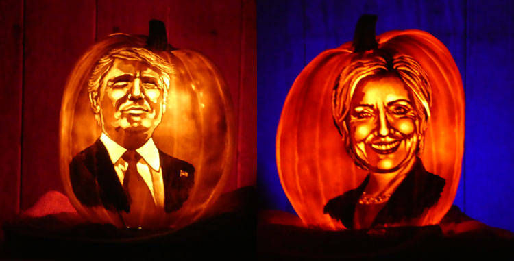 Trump and Hillary in jack o'lantern form at THE GLOW NJ.