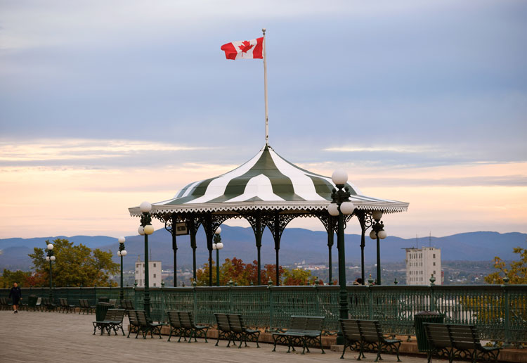 Striped pergola is one of the must see sights on a walking tour of Quebec City.
