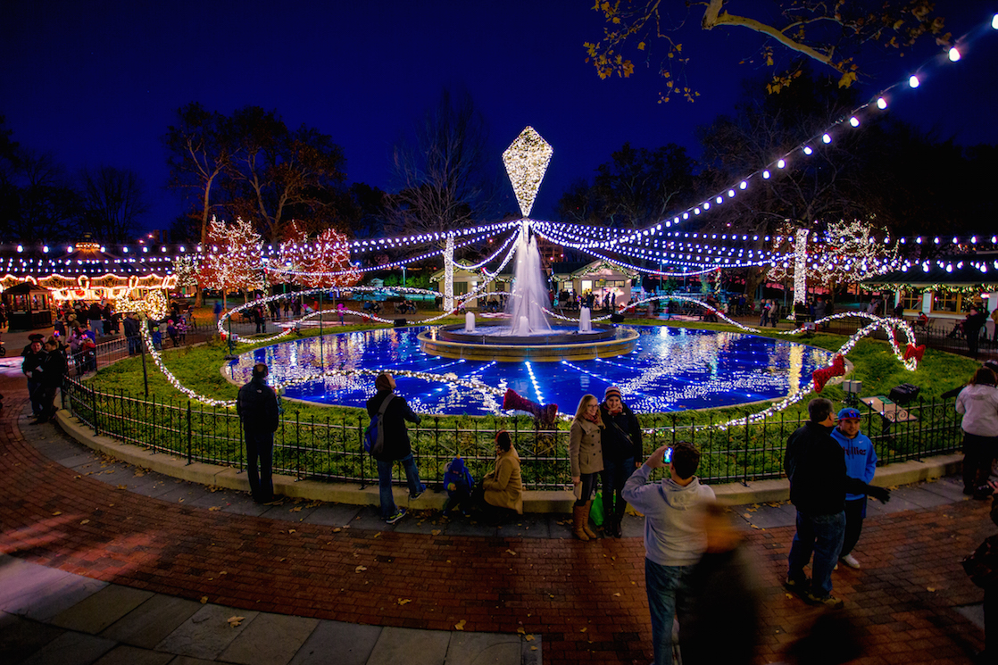 Christmas light display in Franklin Square in Philadelphia, one of the best Christmas lights displays in the Northeast USA - TravelingMom
