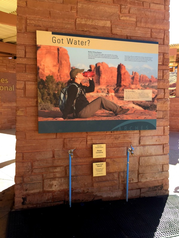 Fill 'er up! Bring filled water bottles along when you head into the Arches National Park.