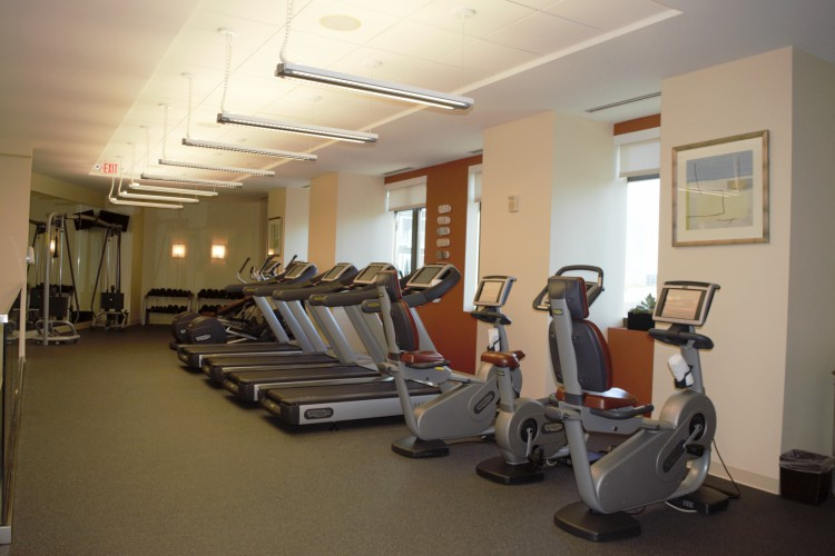 The Mandarin Oriental, Atlanta fitness center looks out on the city and gets you ready to start the day.