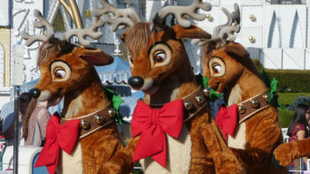 Dancing reindeer in The Christmas Fantasy Parade at Disneyland Resort.