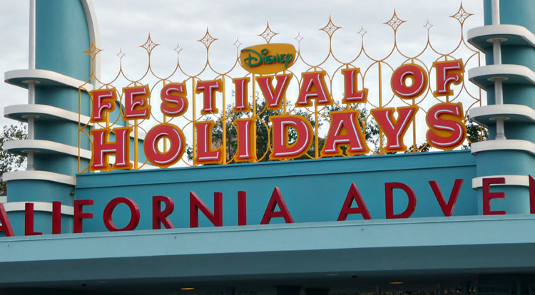 Disneyland Christmas celebrations include the Festival of the Holidays at Disney California Adventure park.