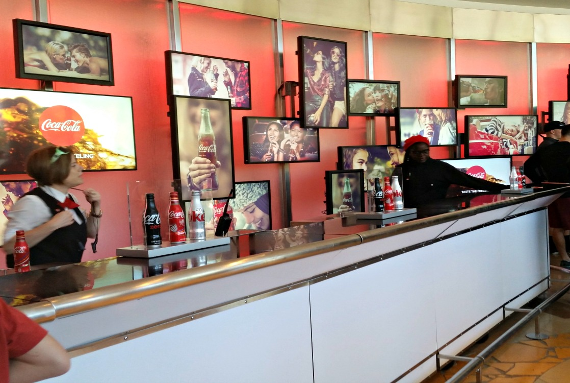 The soft drink bar in the lobby is the first welcoming touch at the World of Coke.