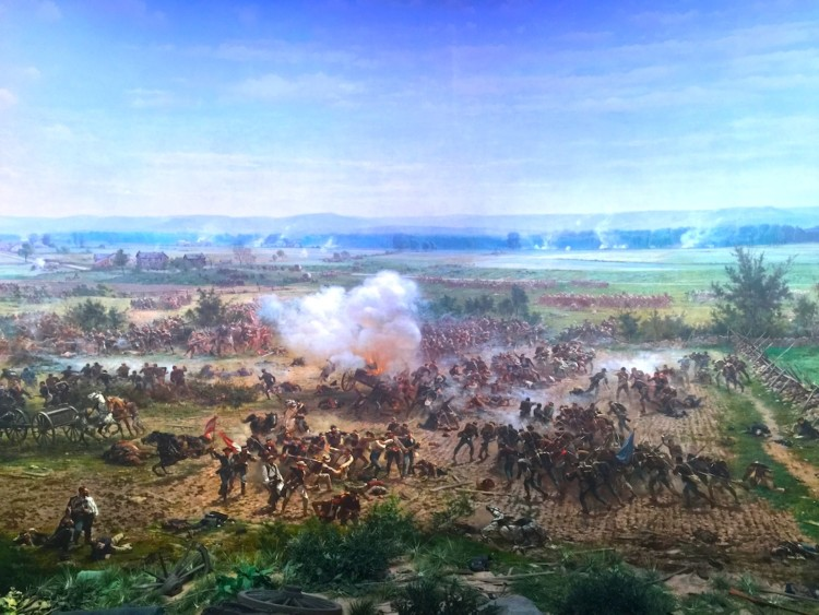 Gettysburg, Pennsylvania weekend getaway includes a look at The Gettysburg Cyclorama, a 400-foot painting of the battle.