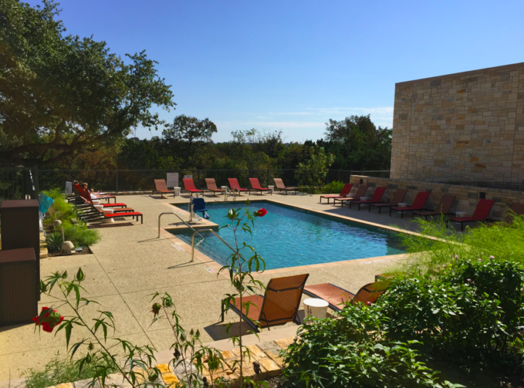Heated outdoor pool at Sheraton Georgetown in Georgetown, Texas.