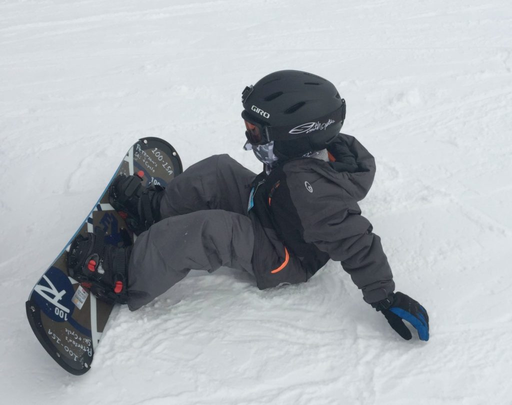 Falling is part of learning how to snowboard.
