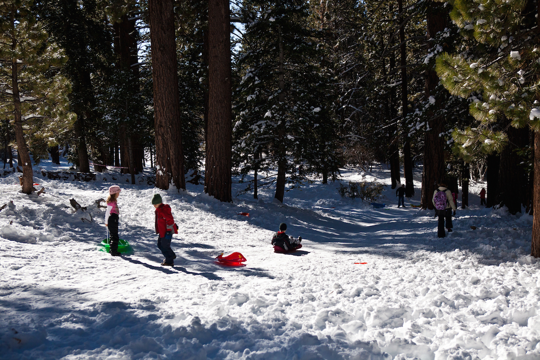 Places to play in snow in Southern California, Snow in Palm Springs, sledding in Southern California,