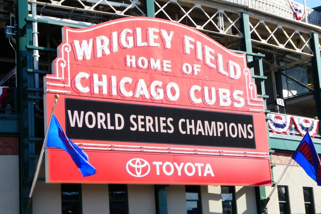 Photo by Jamie Bartosch/Suburban TravelingMom The famous Wrigley Field sign is a popular photo op, especially now.