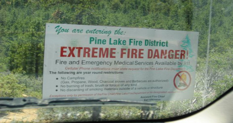 extreme fire danger traveling to fire areas