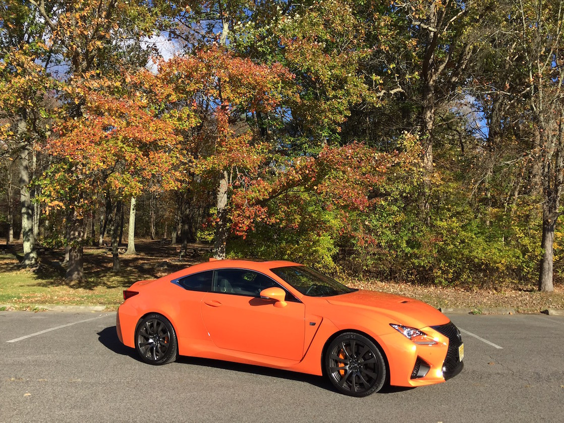 The fall foliage looks dramatic set against the Lexus RC F performance car