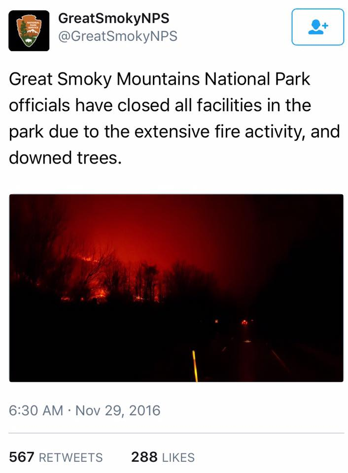 A tweet from the Great Smoky Mountains National Park.
