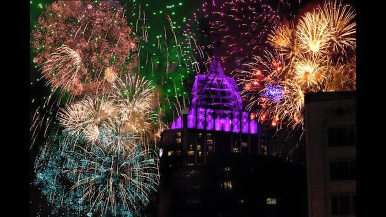 Mobile's New Year's celebration includes an elaborate fireworks display at midnight that lights the sky with the colors of Mardi Gras.