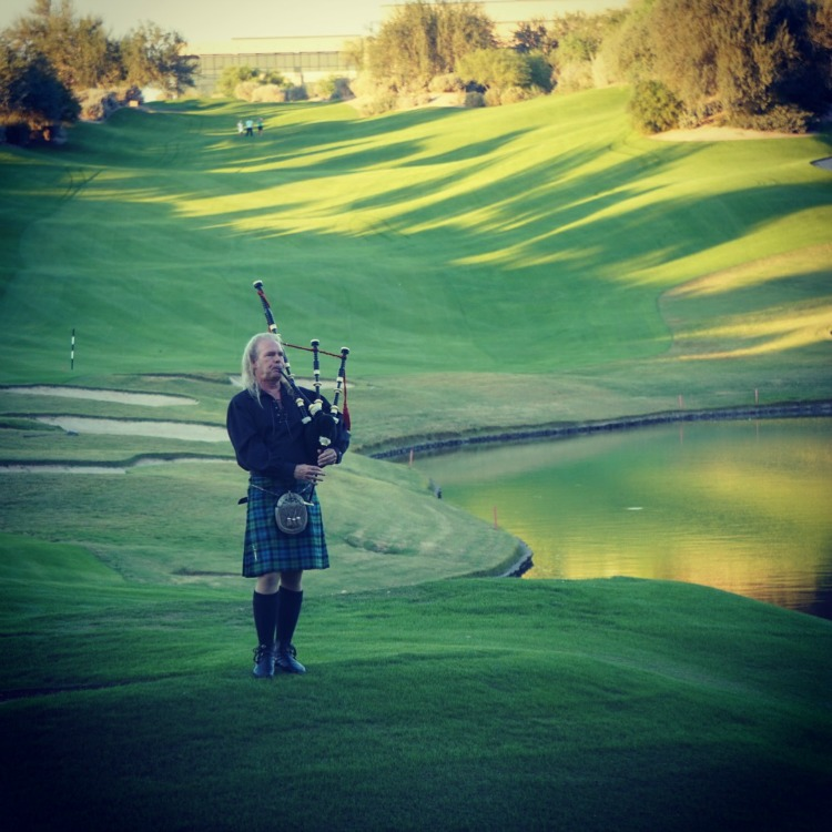 We enjoyed listening to the bagpiper on the golf course at the Westin Kierland. Photo by Multidimensional TravelingMom, Kristi Mehes.