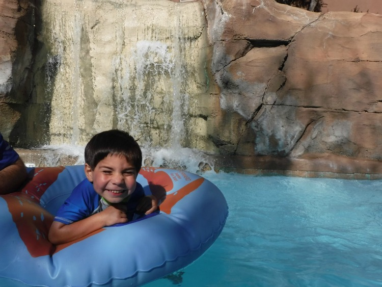 The waterfalls are a nice addition to the lazy river, and why this is a family friendly resort in Arizona! Photo by Multidimensional TravelingMom, Kristi Mehes.