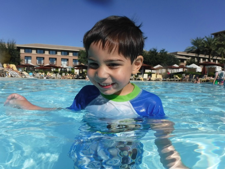 My son loved that he could still touch the bottom of the pool while enjoy our family friendly vacation at the Westin Kierland. Photo by Multidimensional TravelingMom, Kristi Mehes.