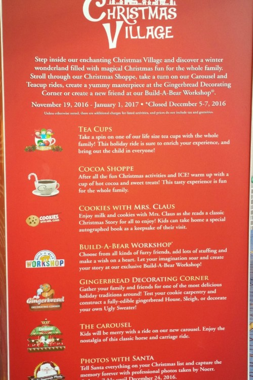 The full list of activities for the Christmas Village at ICE! at Gaylord National