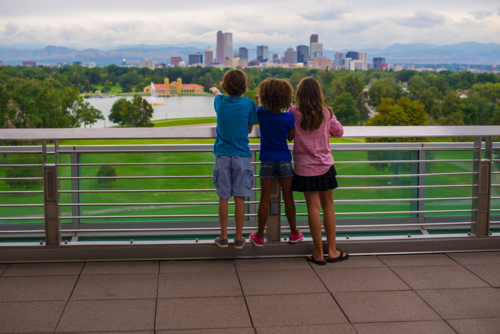 view of the city and its parks from tDenver Museum of Nature and Science.