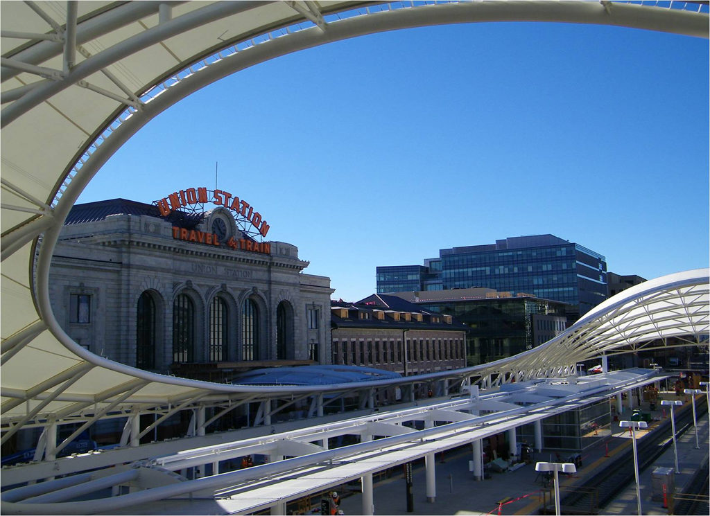 View of Denver Union Station from new RTD Light Rail stop.