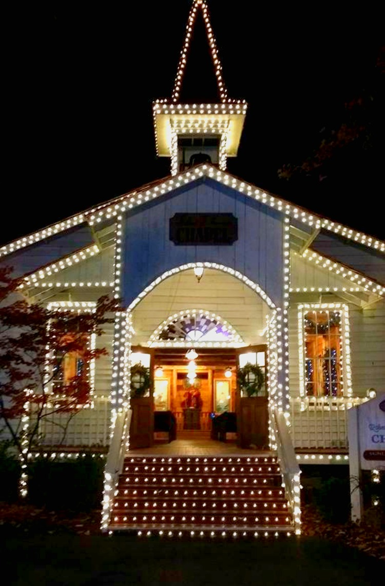 Dollywood Chapel in Holiday Lights