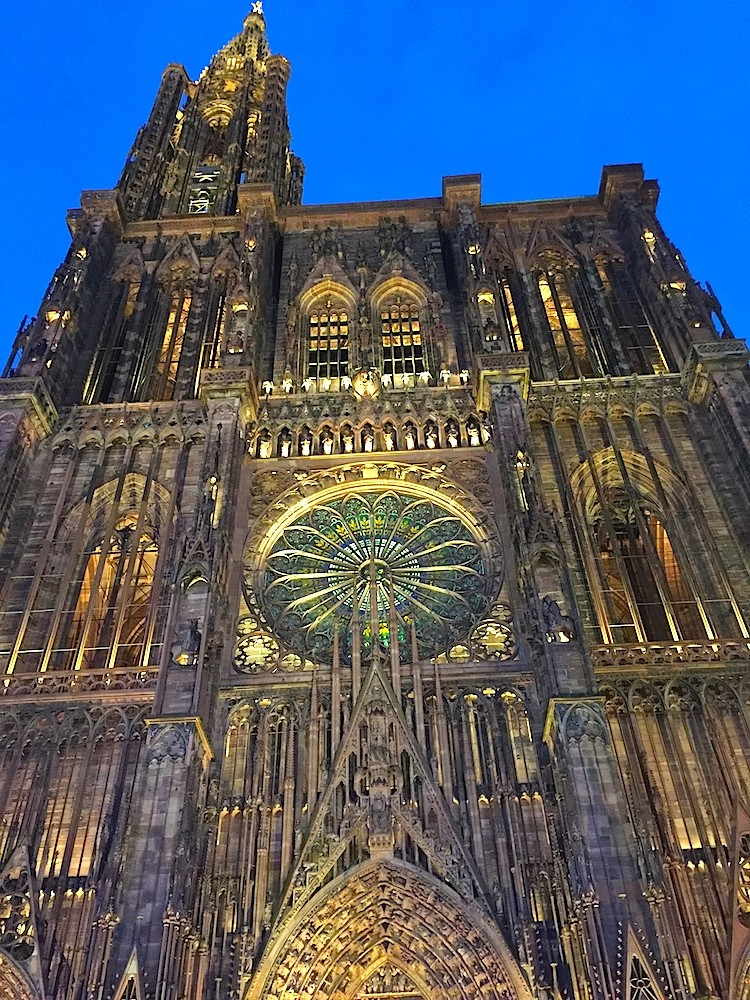 Strasbourg, France lights it Cathedral to show the Gothic details