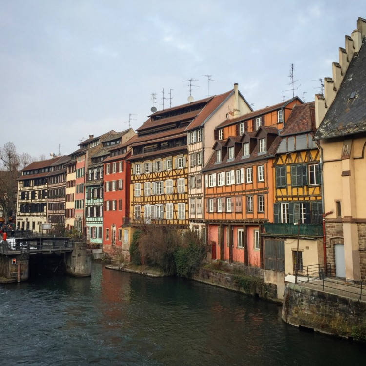 Half-timbered buildings on the riverbank in Strasbourg, France