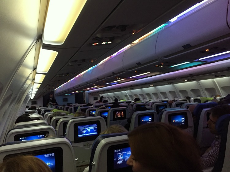 TAP Portugal overnight flight's LED mood lighting helps you relax and get some sleep. Great airline to consider using if you visit Portugal.