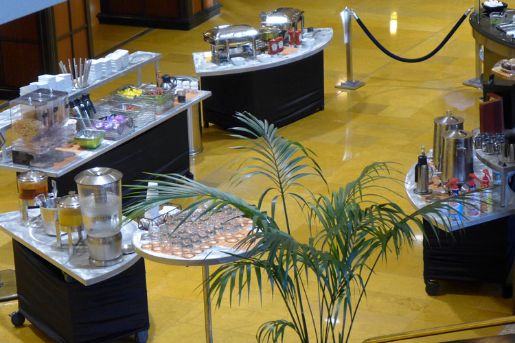 The breakfast buffet in the lobby of the Amway Grand, an historic hotel in Grand Rapids