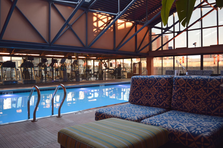 Resort-style pool at the Amway Grand Plaza, an historic hotel in Grand Rapids, Michigan
