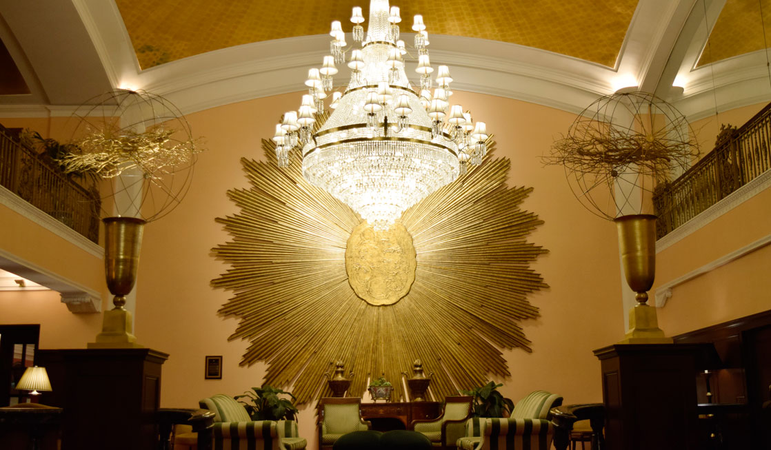 One of 3 magnificent chandeliers in the lobby of the Amway Grand Plaza, an historic hotel in Grand Rapids, Michigan