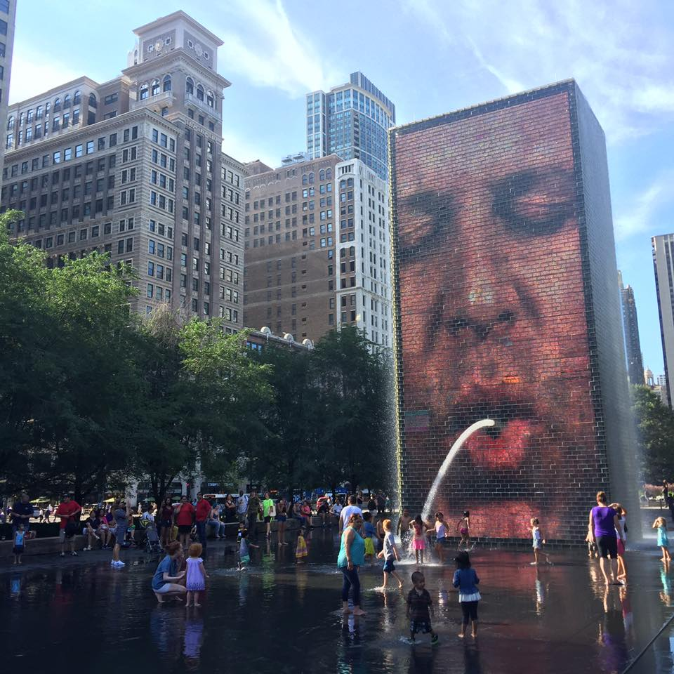 The Crown Fountain at Millennium Park is one of Chicago's many pieces of public art.