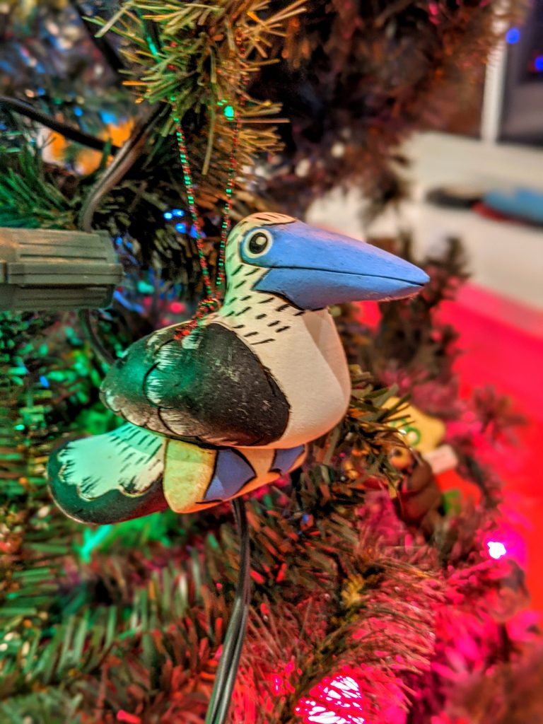 Unique Christmas ornaments - a blue footed booby from the Galapagos Islands.