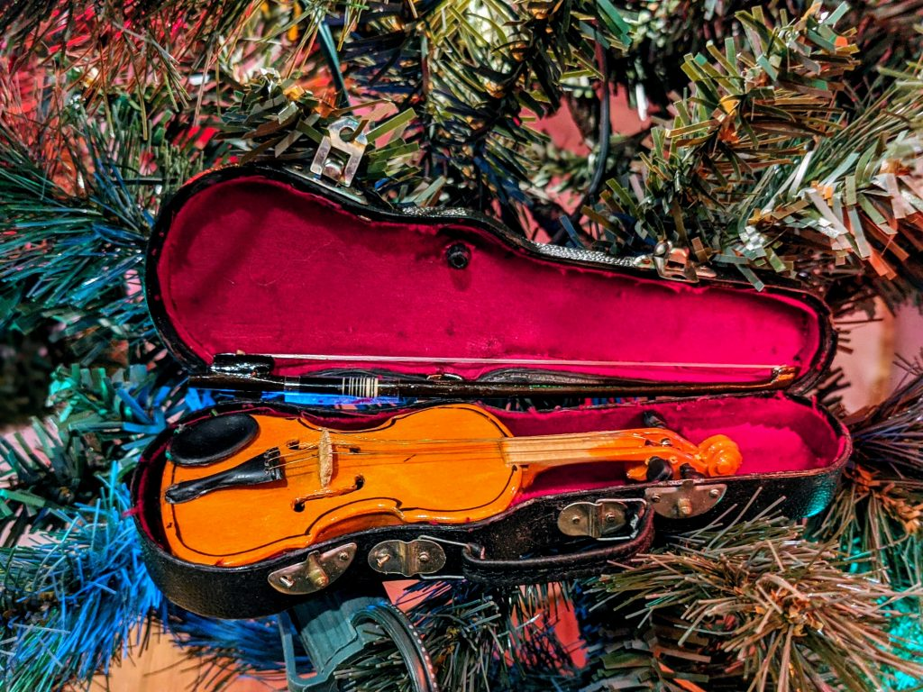 Unique Christmas ornaments - a mini violin and case from Austria.