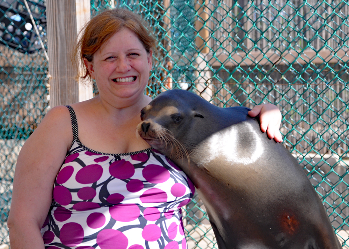 Snuggle with a sea lion during your visit to the Bahamas. | sponsored | Nassau | Paradise Island | Blue Lagoon Island | Cruise Excursion |