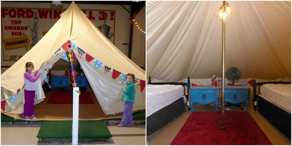Sleep in an indoor yurt at Round Top's indoor campground.
