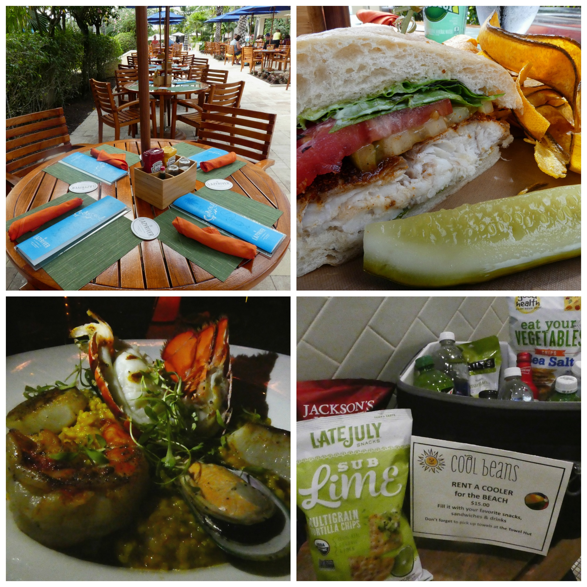 Dining at Hyatt Regency Coconut Point, from top left: The cheery Corkscrew restaurant near the pools, the highly-recommended grouper sandwich, fast snacks at Cool Beans and the generous portions of the paella at Tarpon.