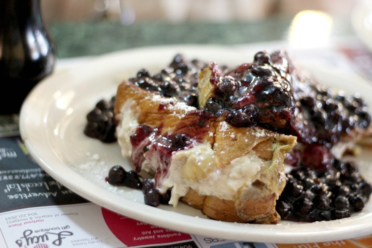 Blueberry stuffed French toast at a restaurant in Jacksonville FL