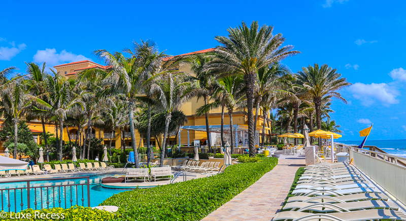 Oceanfront Eau Palm Beach is a shrine to turquoise and canary yellow, making it one of the most romantic hotels in the country.