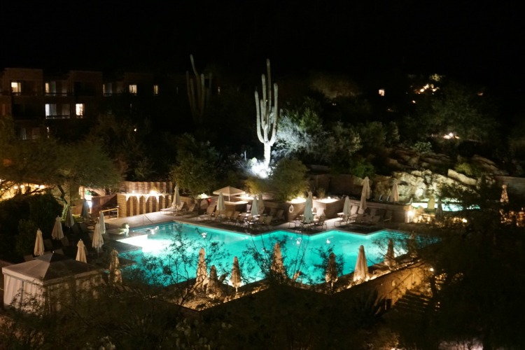 All the members of my family, including my four year old son, loved seeing the pool lit up at night with the saguaro cactus as the focal point. Photo by Multidimensional TravelingMom, Kristi Mehes.