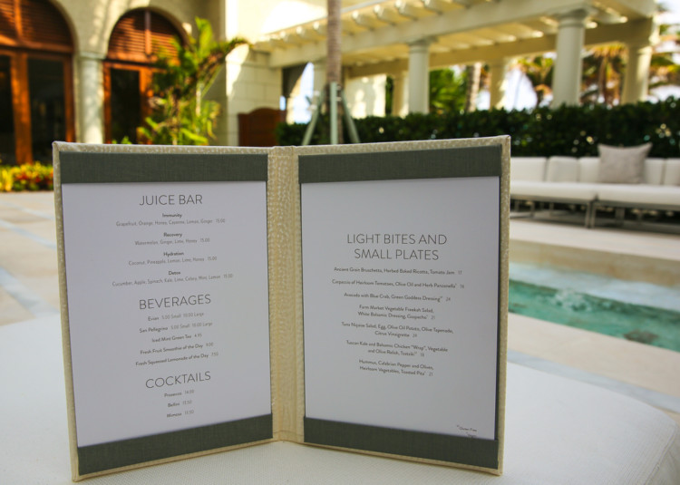 Spa cuisine menu offered at a weekend wellness retreat at the Breakers Palm Beach.