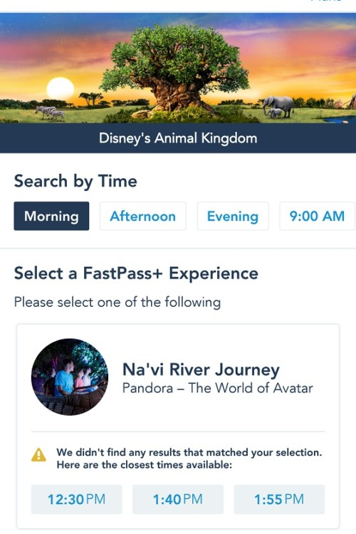 Disney fastpass tips include scrolling left to get a later return time.