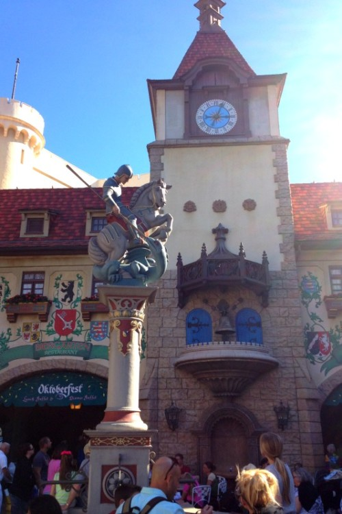 The Germany Pavilion statue, a must see in Disney even when you only have one day in Epcot.