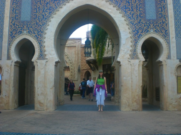 "Posing in ""Morocco"", a fun thing to do even with one day at Epcot."