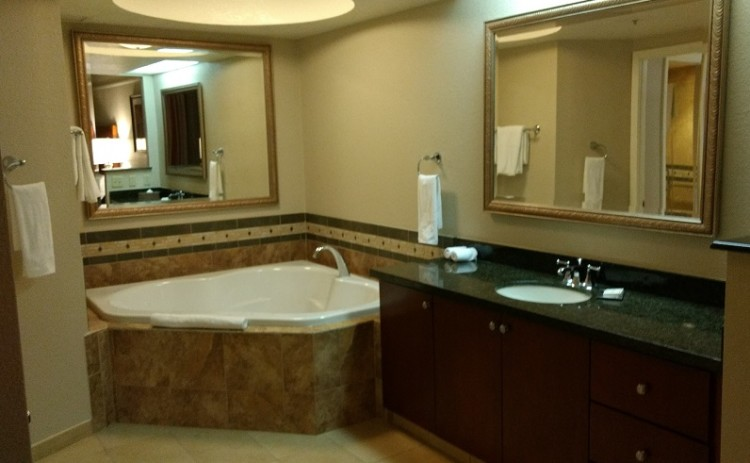 Las Vegas family hotel bathroom in the Hilton Grand Vacation Suites at the Flamingo.