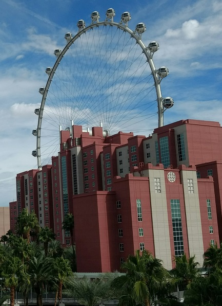 High Roller ferris wheel at the Hilton Grand Vacations Flamingo, a Las Vegas family hotel.