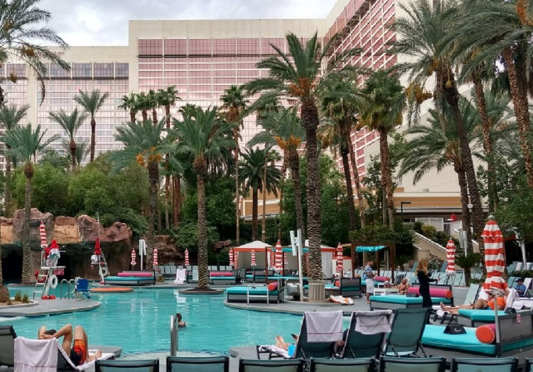 Pool at the Hilton Grand Vacations Suites at the Flamingo, a Las Vegas family hotel.