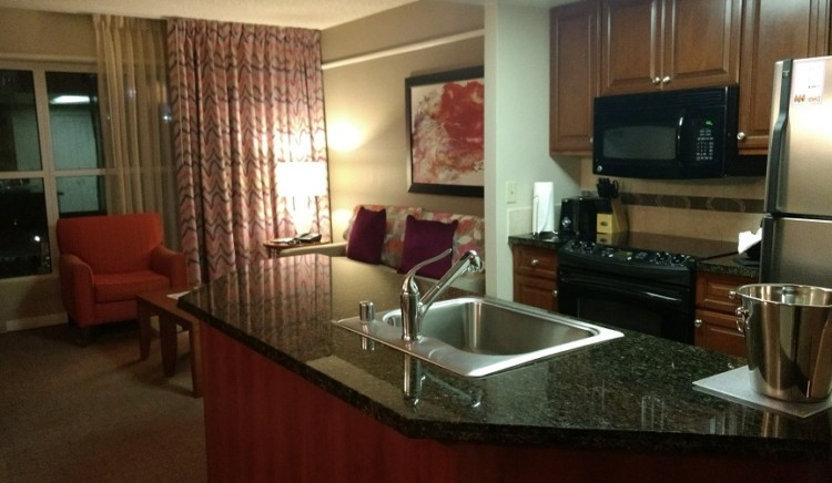 Suite interior at the Hilton Grand Vacation Suites at the Flamingo, a Las Vegas family hotel.