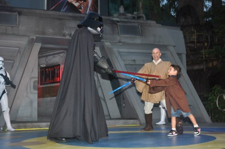 During one day at Hollywood Studios Jedi Training kids learn how to defeat Darth Vader.